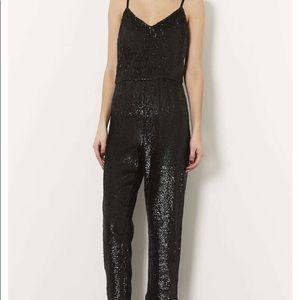 Top Shop Black Exclusive Sequin Jumpsuit